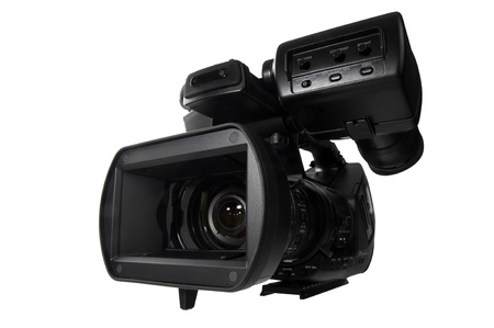 HD video camera with view close to lens over white background photo