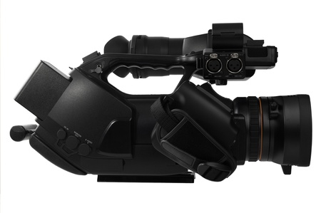 Professional Video Camera isolated on white background (view from the right side) Standard-Bild