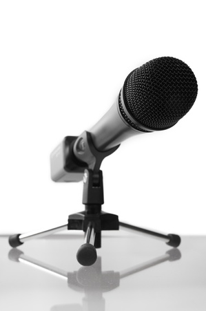 Professional Microphone on a studi glass table (with nice reflection)