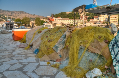 Fishing nets on the waterfront