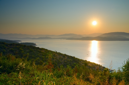 Sunrise and view at Ionian sea at Corfy, Greece
