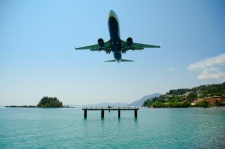 kerkyra: Amazing landing at Kerkyra Airport, corfy Greece Stock Photo