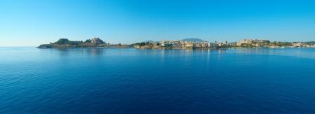 Panoramic  view of Kerkyra, Corfu from the sea Stock Photo