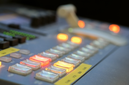 Close up of digital video mixer with short depth of field