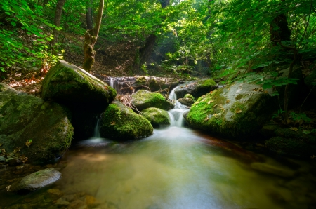 Green background and soft trasparences of the water and waterfall motion blur