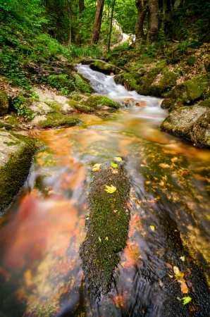 Mountain stream flows over mossy red rock