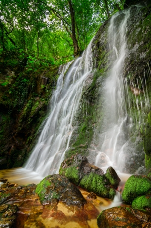 Beautiful waterfall hidden in the forests Stock Photo