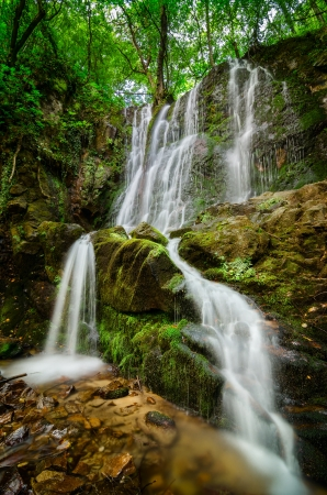 Tranquil scene of beautiful waterfall hidden deep in the forest
