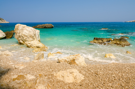 Beach with crystal clear water Stock Photo