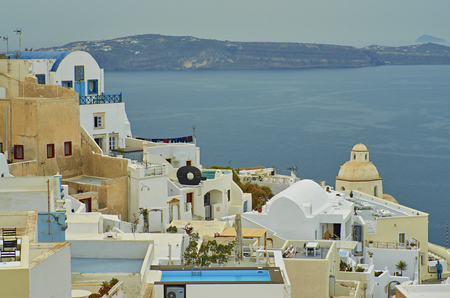 View on caldera, sea and town of Fira. Stock Photo