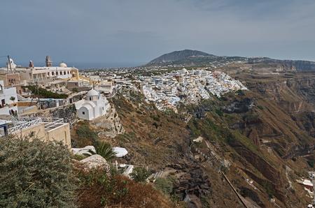 Panoramic view on Santorini Stock Photo