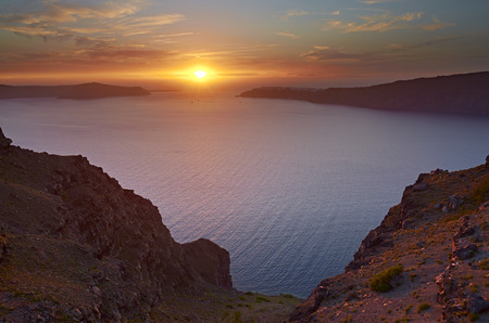 Beautiful sunset over Santorini Stock Photo