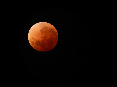 totality: Lunar Eclipse at Totality Stock Photo