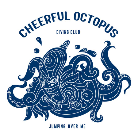 spacesuit: Octopus in a spacesuit. Algae and submarine.