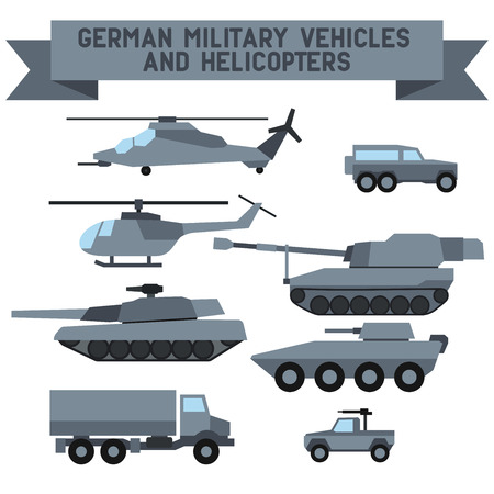 Set of the german military combat vehicle and helicopters. Flat design.Set of the  military combat vehicle and helicopters. Flat design. Illustration