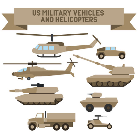howitzer: Set of the US  military combat vehicle and helicopters. Flat design.Set of the  military combat vehicle and helicopters. Flat design.