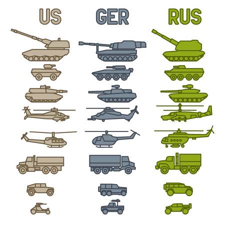 howitzer: Set of the german military combat vehicle and helicopters. Outline design
