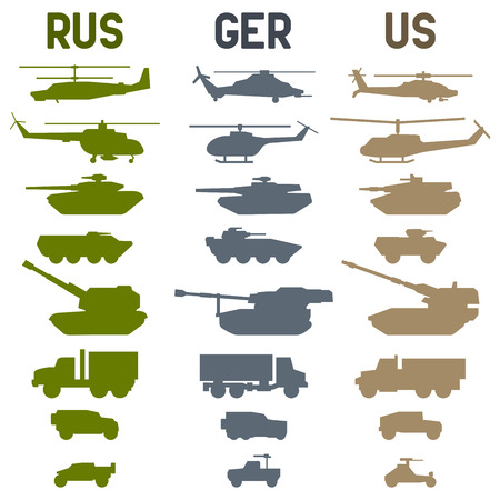 howitzer: Set of the german military combat vehicle and helicopters. Illustration