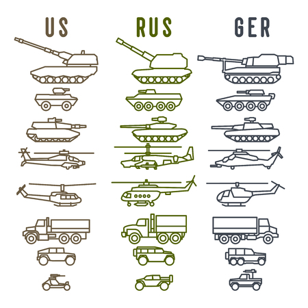 Set of the german military combat vehicle and helicopters. Outline design