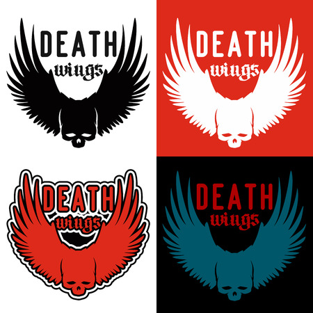 hardcore: icon for hardcore metalcore band. skull image on background wings in four variations