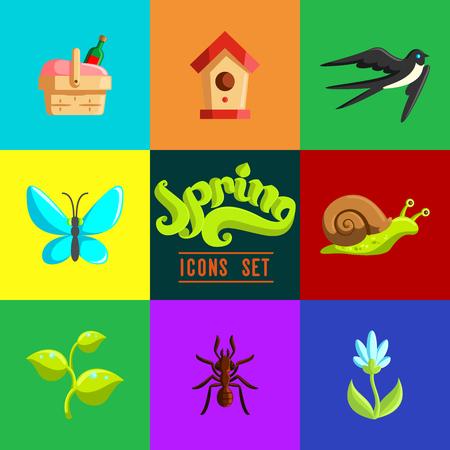eco flowers basket: Flat Spring Icons Set.