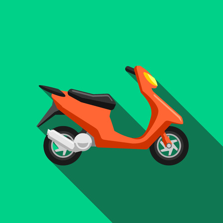 Scooter transport flat icons set. Moped illustration, motorcycle side view, bike transportation, motorbike with driver Illustration