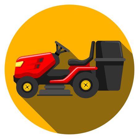 lawn tractor icon isolated on background. Modern flat pictogram, business, marketing, internet concept. Trendy Simple vector symbol for web site design or button to mobile app. Logo illustration Illustration