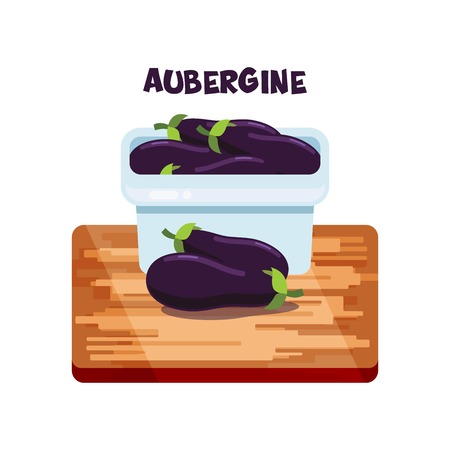 Vector aubergine flat design Stock Illustratie