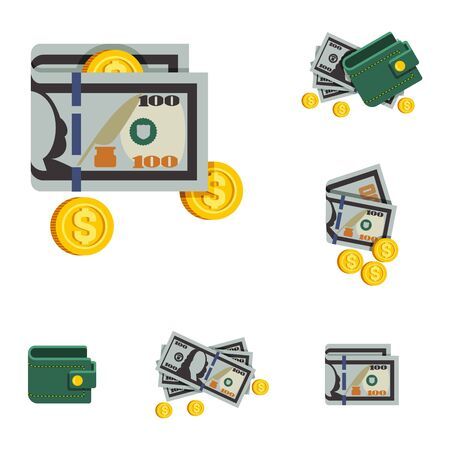 Vector Icons Beautiful Green Wallets with Money and without