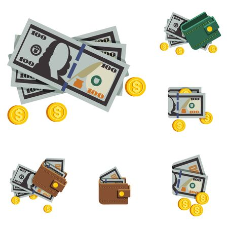 Vector Icons Beautiful Wallets With Money in a Trendy Flat
