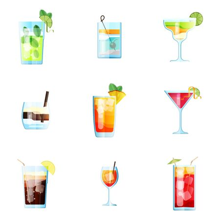 Set of Nine Tropical Cocktails in Flat Style for Menu