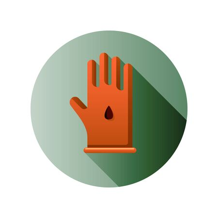 Vector flat icon with Hand and flower seed. Flat design with long shadow.