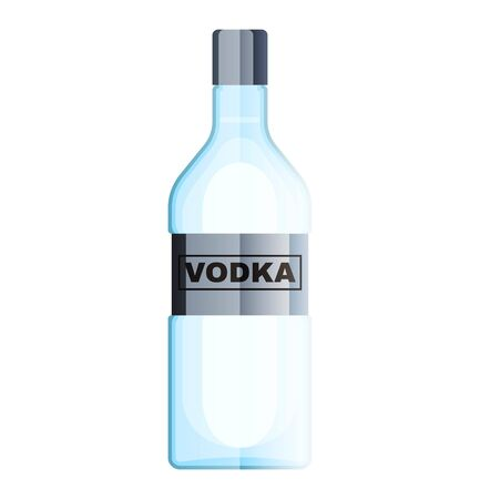 Bottle of vodka with shot glass. Vodka alcohol drink. vector illustration in flat style