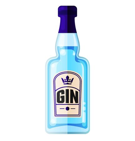Traditional dry gin in blue bottle. Alcohol drink in flat vector style.