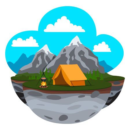 Mountain Landscape. Solitude in Nature by the Rocks. Weekend in the Tent. Hiking and Camping. Vector Cartoon Flat Illustration for Flyer Design Vecteurs