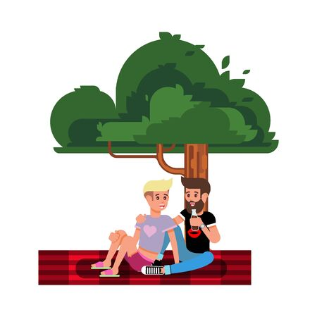 Happy Couple of Young People on a Picnic. Couple of Lovers Resting in Nature. Vector Illustration in a Flat Style. Illustration