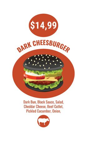 Double Royal Burger brochure poster promotion, burger vector illustration, realistic style. sample or mock up ads template fast food
