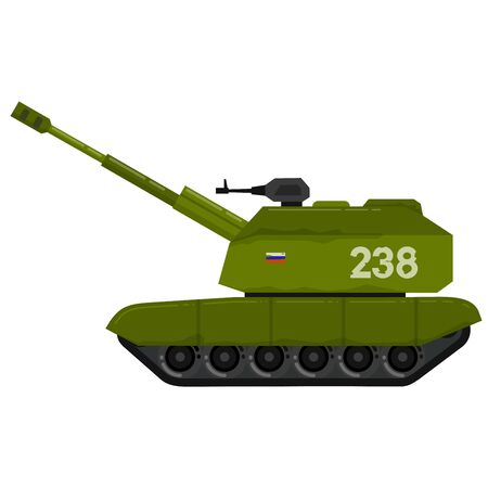 Flat style Self-propelled artillery installation on caterpillar tracks. military weapon. Soviet weapons. Secret developments. Russian self-propelled artillery mount. Flat style illustration.