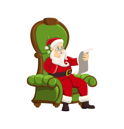 San Claus is sitting in a beautiful green armchair and reading a child s letter. Christmas illustration. Element of a festive decor. New Year s illustration on white background. Vector Christmas Scene