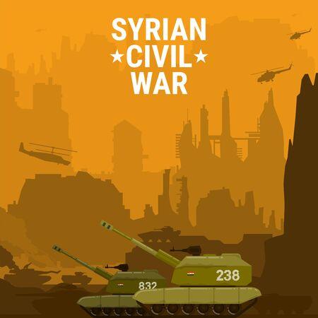 civil war Syria Self propelled artillery mount Ilustração