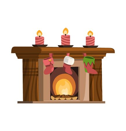 Christmas fireplace in colorful cartoon flat style. Christmas eve, stockings and gift. Merry Christmas and happy New year. Flat design. Vector. Illustration