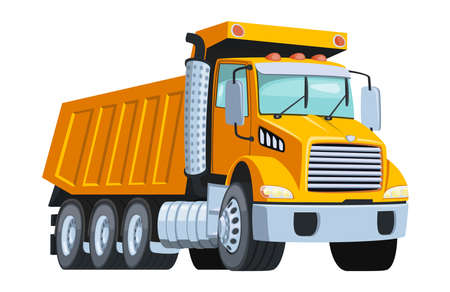 Big yellow tipper truck isolated white vector