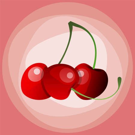 Red Cherry. Illustration of brunch fresh ripe cherry. A couple of red berries. Clip art with title. Isolated on white. Vector file is EPS10, all elements are grouped. 向量圖像