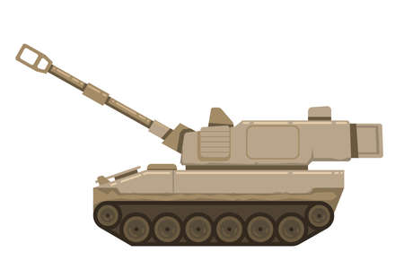 Self propelled artillery isolated with road fragment