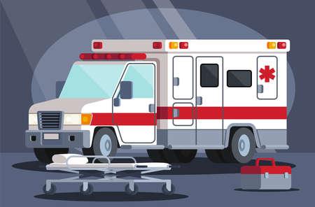 Ambulance emergency paramedic car Vector modern creative Vector Illustration