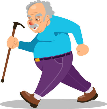 Old man person walking with stick vector Stock Illustratie
