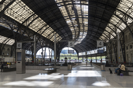 modernisme: Barcelona, Spain  April 9, 2014  Empty platforms in the Estacion de Francia in Barcelona   France Station  is a historic railway station in the city of Barcelona The Estacio de Franca, built in the time of Catalan Modernisme, is the second busiest railway