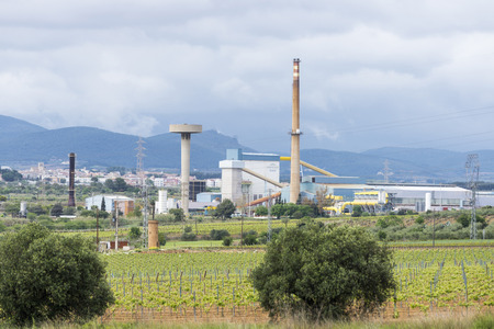 industrial park: zone vineyards coexisting with an industrial park in Catalonia Editorial
