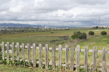industrial park: zone vineyards coexisting with an industrial park in Catalonia Stock Photo