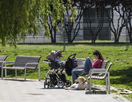 Barcelona, Spain - 23 April, 2014   mother and son at the park with her dog sunbathing while reading placidly mother and son at the park with her dog